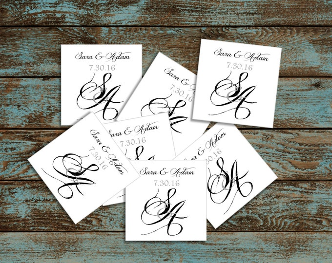 Monogrammed with Ampersand 100 Wedding Favor Stickers. Personalized and printed square labels.