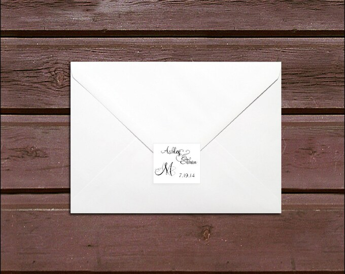 100 Monogram Wedding Envelope Seals. Personalized Sticker Labels - monogrammed