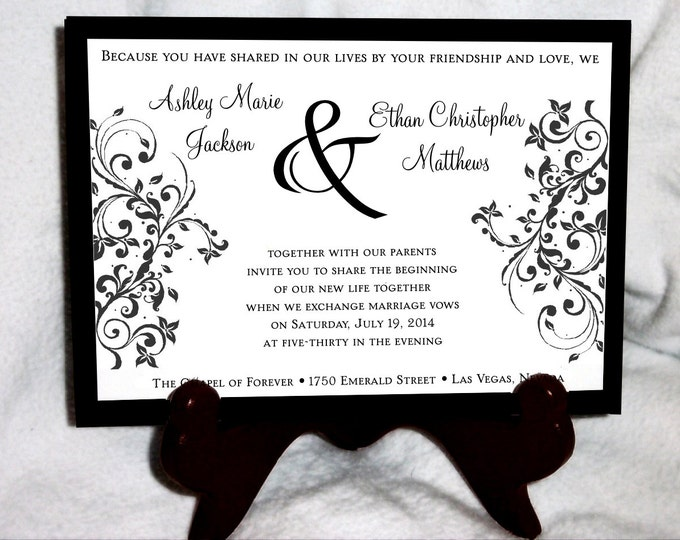 50 Damask Swirl Wedding Invitations, RSVP's, Reception Insert w/ FREE Calendar Stickers