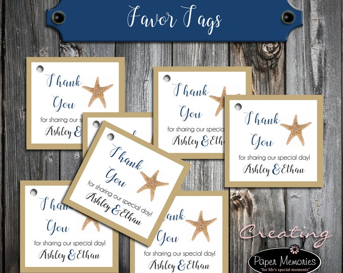 100 Wedding Favor Tags - Beach Starfish - Printed - Personalized - Wedding Favors