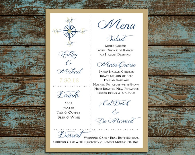 Nautical Compass Anchor Menus. 100 Personalized and Printed Wedding Menu Cards.  Dinner Reception.  Food Choices.