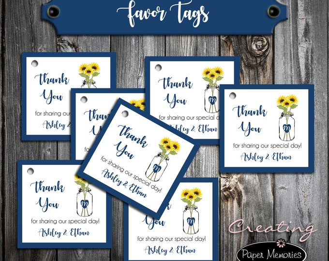 100 Wedding Favor Tags - Mason Jar with Sunflowers - Printed - Personalized - Wedding Favors