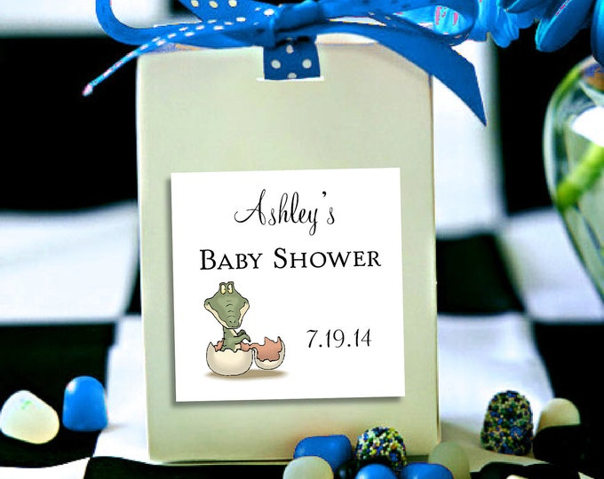 25 DINOSAUR Baby Shower Favor Stickers. 2 inches by 2 inches.  Price includes personalization and printing.