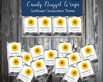 100 Sunflower Graduation Candy Wraps Favors - Nugget Chocolate Wrappers Class of 2020