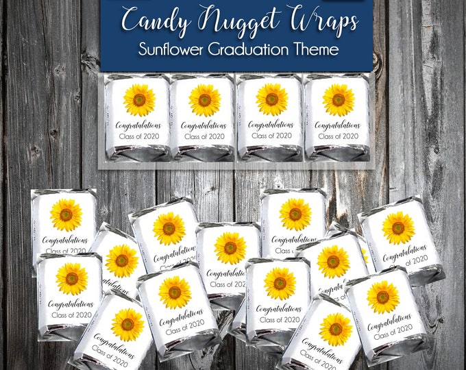 50 Sunflower Graduation Candy Wraps Favors - Nugget Chocolate Wrappers Class of 2020