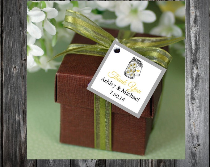 Mason Jar with Daisies 100 Printed and Personalized Favor Tags. Beach Wedding favors