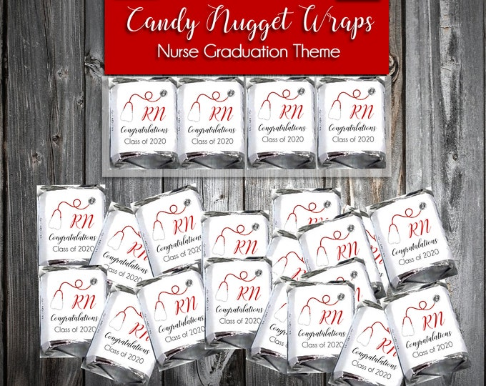 50 Nursing RN Graduation Candy Wraps Favors - Nugget Chocolate Wrappers