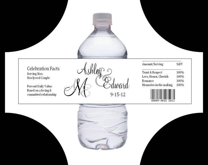 50 Monogram water bottle labels - Wedding favors- monogrammed