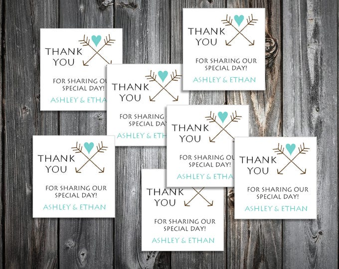 100 Arrow Wedding Favor Stickers. Personalized printed square labels are 2 inches by 2 inches.