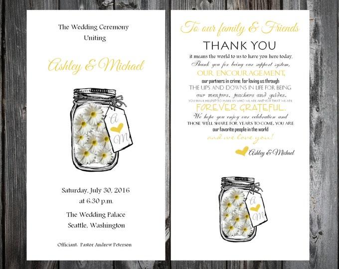 Mason Jar with Daisies Wedding Programs 100 Wedding Ceremony Personalized and Printed Programs