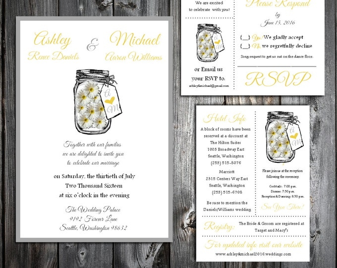 Mason Jar with Daisies Wedding Personalized Printed Invitations, RSVP, Reception Hotel Inserts w/ FREE Envelope seals