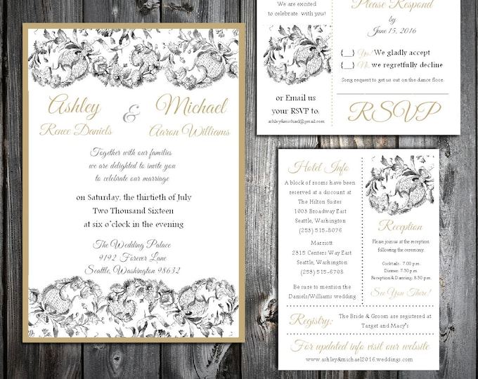 Lace and Burlap Rustic Theme 100 Wedding Personalized Printed Invitations, RSVP, Reception Hotel Inserts w/ FREE Envelope seals
