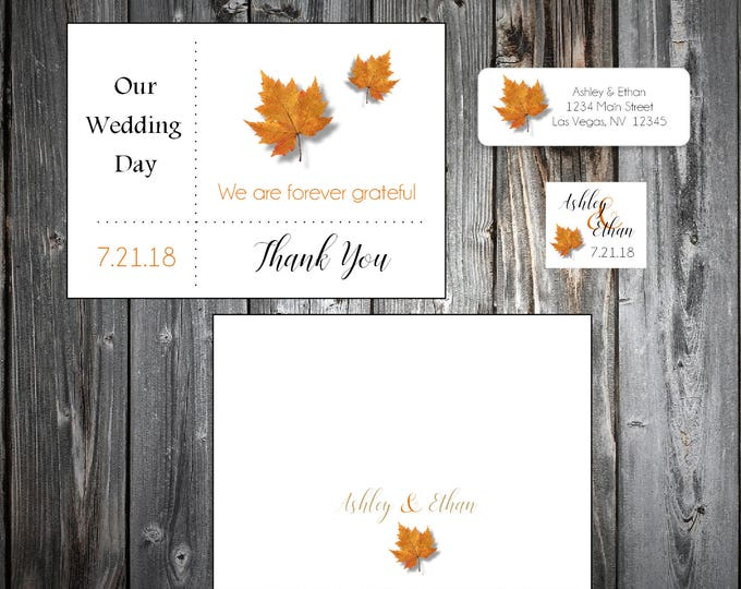 50 Fall Leaf Wedding Thank You Notes - Fall In Love