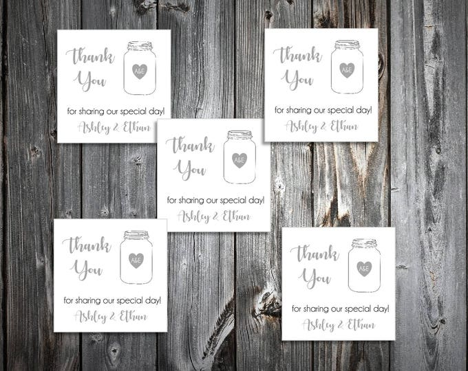 100 Mason Jar Wedding Favor Stickers. Personalized printed square labels are 2 inches by 2 inches.