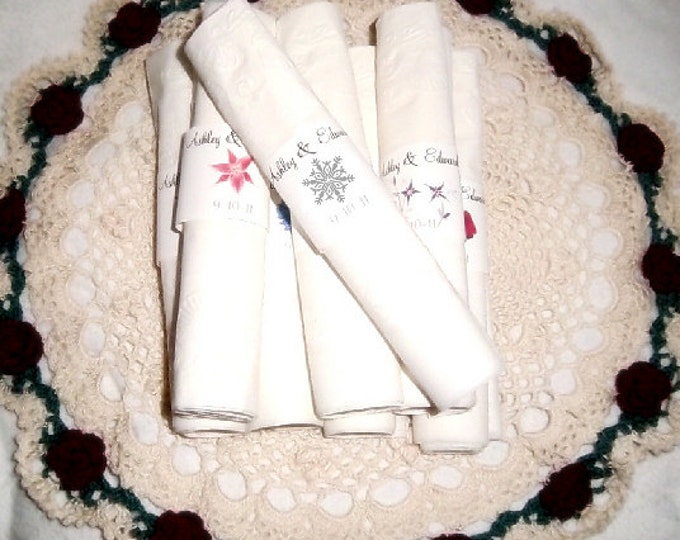 100 Snowflake Wedding Napkin Ring Cuffs Wraps. Personalized Favors