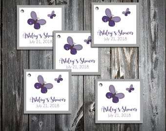 25 Purple Butterfly Baby Shower Favor Tags.  Price includes personalization, printing.