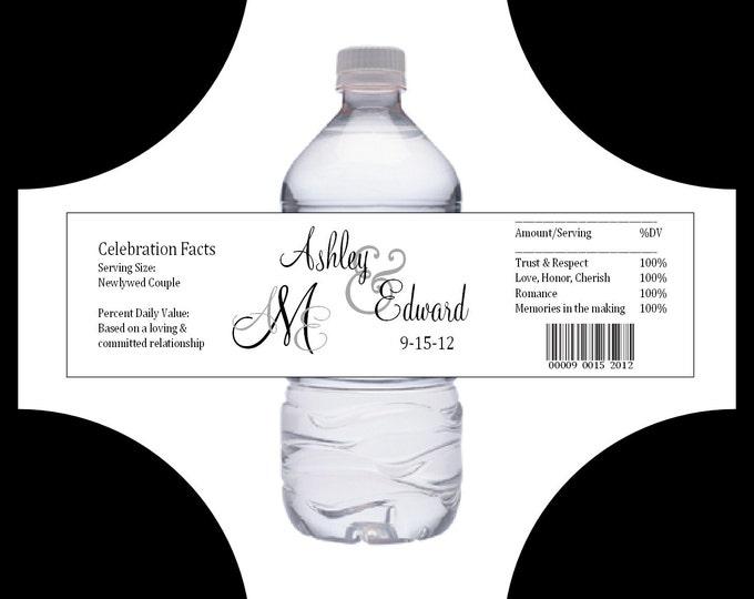 100 Monogram water bottle labels - Wedding favors- monogrammed