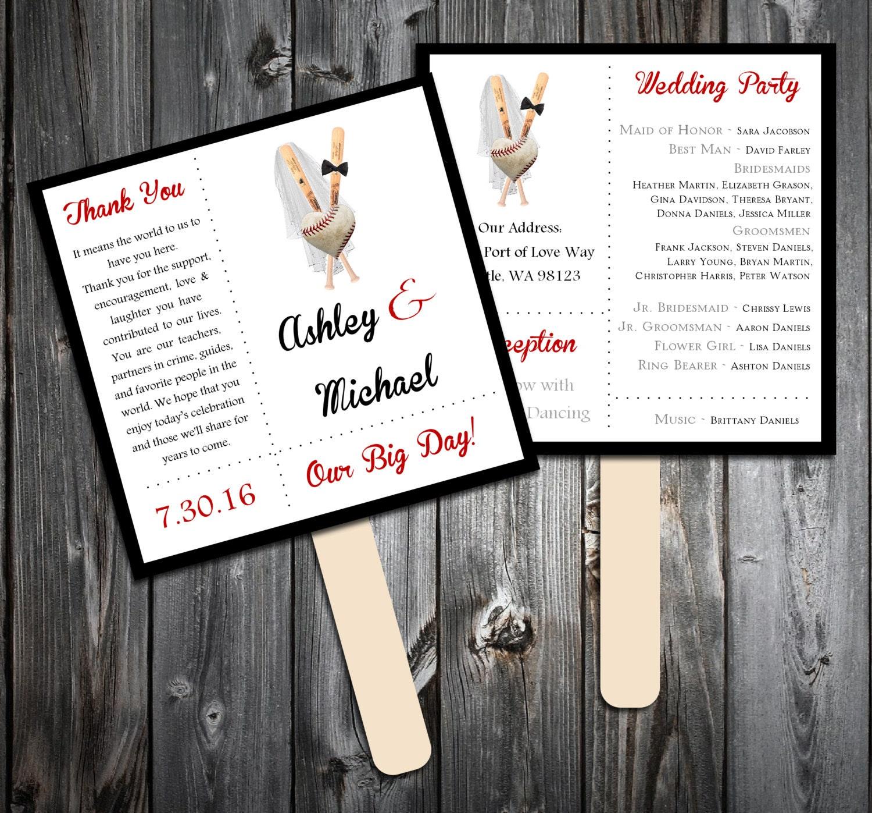 Baseball Heart Program Fans Kit Printing Included Wedding Etsy