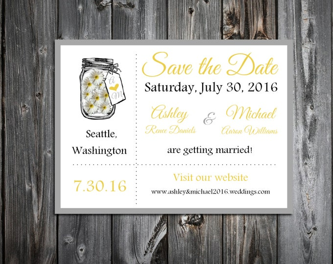 Mason Jar with Daisies Wedding Save the Date Cards Invitations