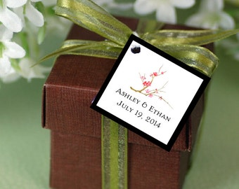 100 Cherry Blossoms Favor Tags.  Wedding favors