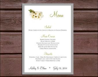 100 Calla Lily Wedding Menu Cards - Dinner Menus
