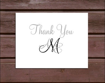 100 Monogram Wedding Thank You Notes - monogrammed