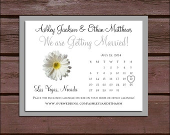 White Daisy Wedding Save the Date Cards Invitations