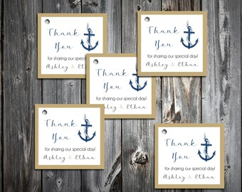 100 Nautical Beach Anchor Favor Tags.  Wedding favors