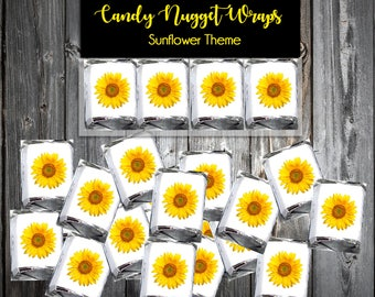 100 Sunflower Candy Wraps - Wedding Favors
