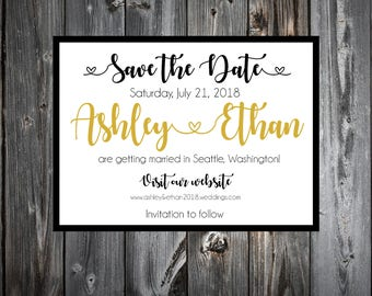 Black and Gold Wedding Save the Date Cards Invitations