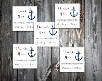100 Nautical Beach Anchor Wedding Favor Stickers. Personalized printed square labels are 2 inches by 2 inches.