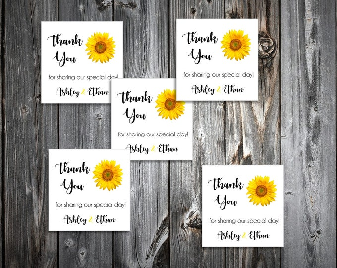 100 Sunflower Wedding Favor Stickers. Personalized printed square labels are 2 inches by 2 inches.