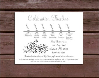100 Damask Swirl Timeline to include with your Wedding Invitations. Includes printing