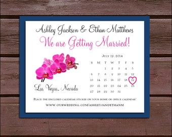 Pink Orchids Wedding Save the Date Cards Invitations