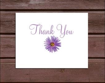 100 Lavender Purple Daisy Wedding Thank You Notes