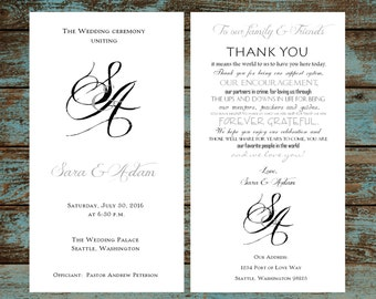 Monogram with Ampersand Wedding Programs 100 Wedding Ceremony Personalized and Printed Programs