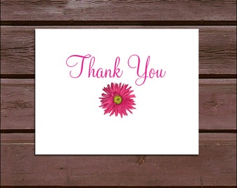 100 Pink Daisy Wedding Thank You Notes