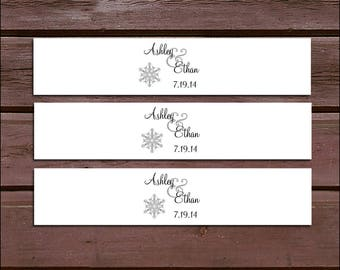 50 Snowflake Wedding Invitation Belly Bands Wraps