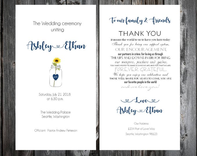 Mason Jar with Sunflower Wedding Ceremony Programs - Printing is included
