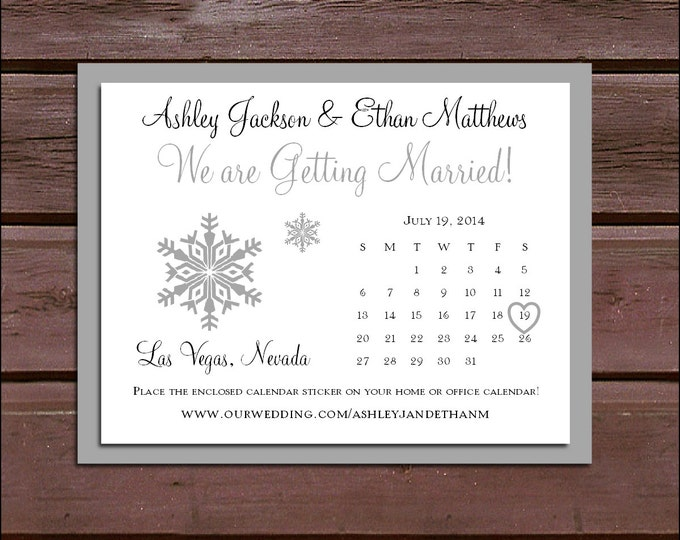 Snowflake Wedding Save the Date Cards Invitations