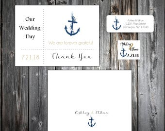 100 Nautical Beach Anchor Wedding Thank You Notes