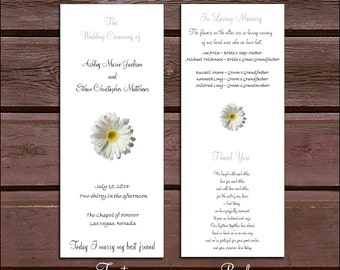 150 White Daisy Wedding Ceremony Programs