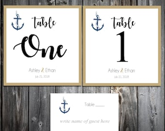 10 Nautical Beach Anchor Wedding Table Numbers and 100 place settings