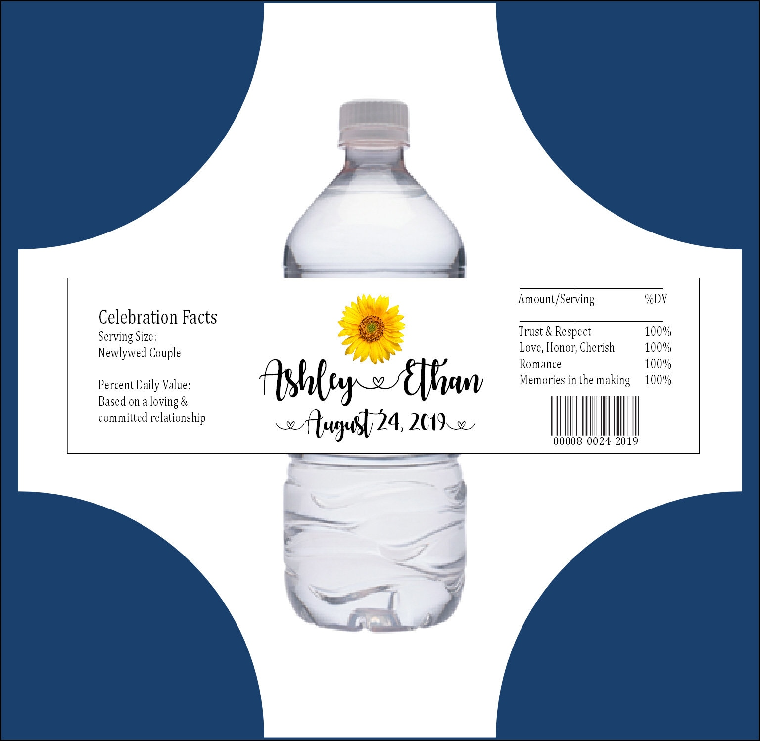 100 wedding water bottle labels wraps sunflower wedding favors