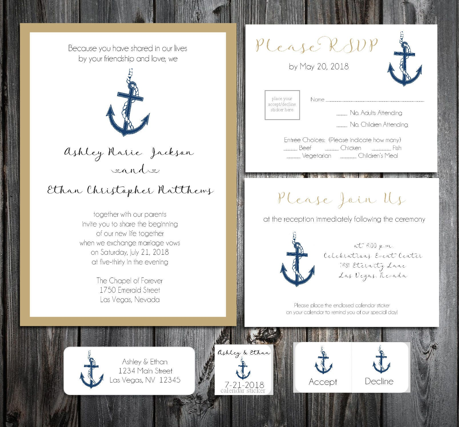 Nautical Beach Anchor Wedding Invitations, RSVP\'s, Reception Insert ...