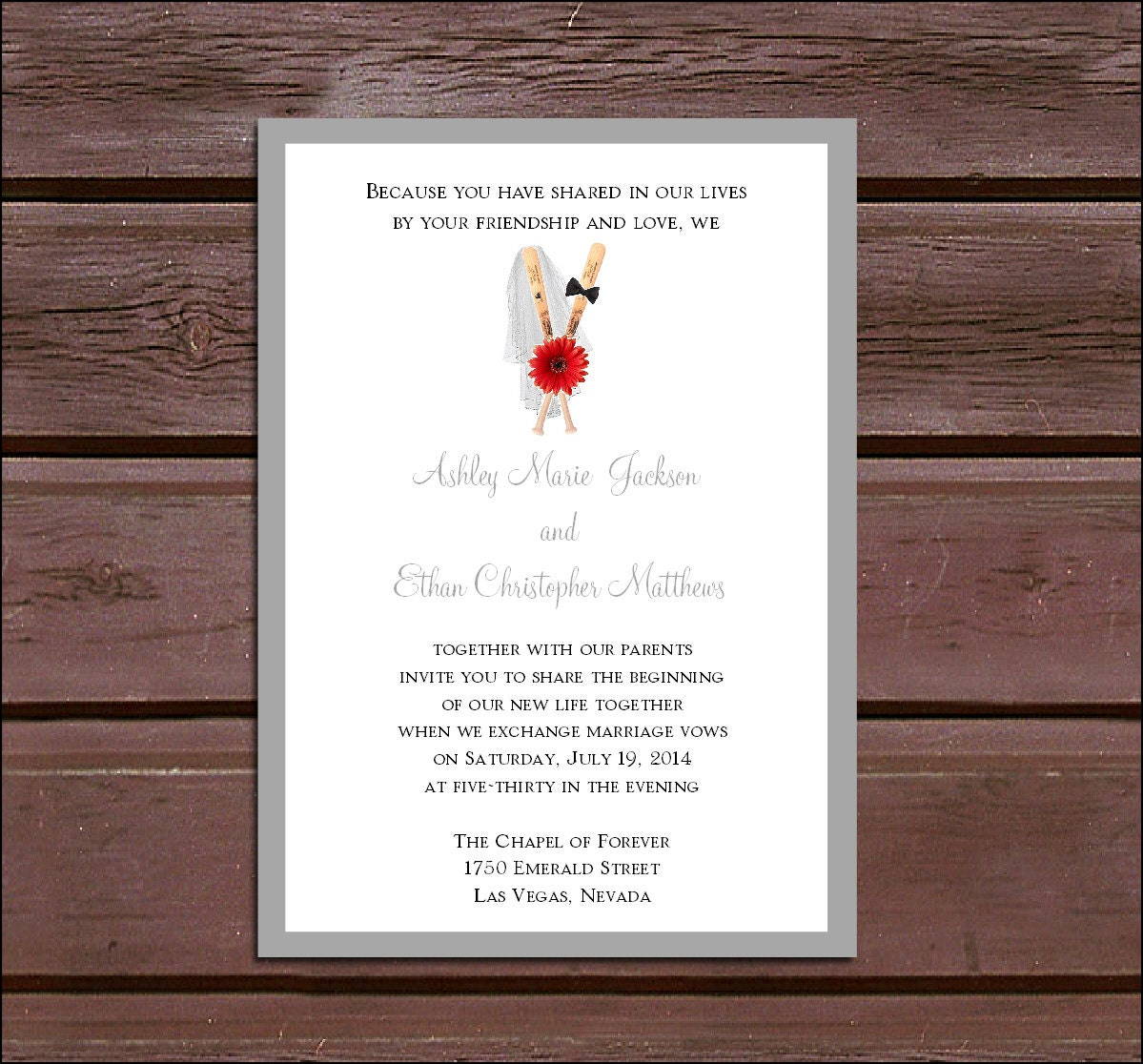 Baseball Wedding Invitations RSVPs Reception Insert w FREE