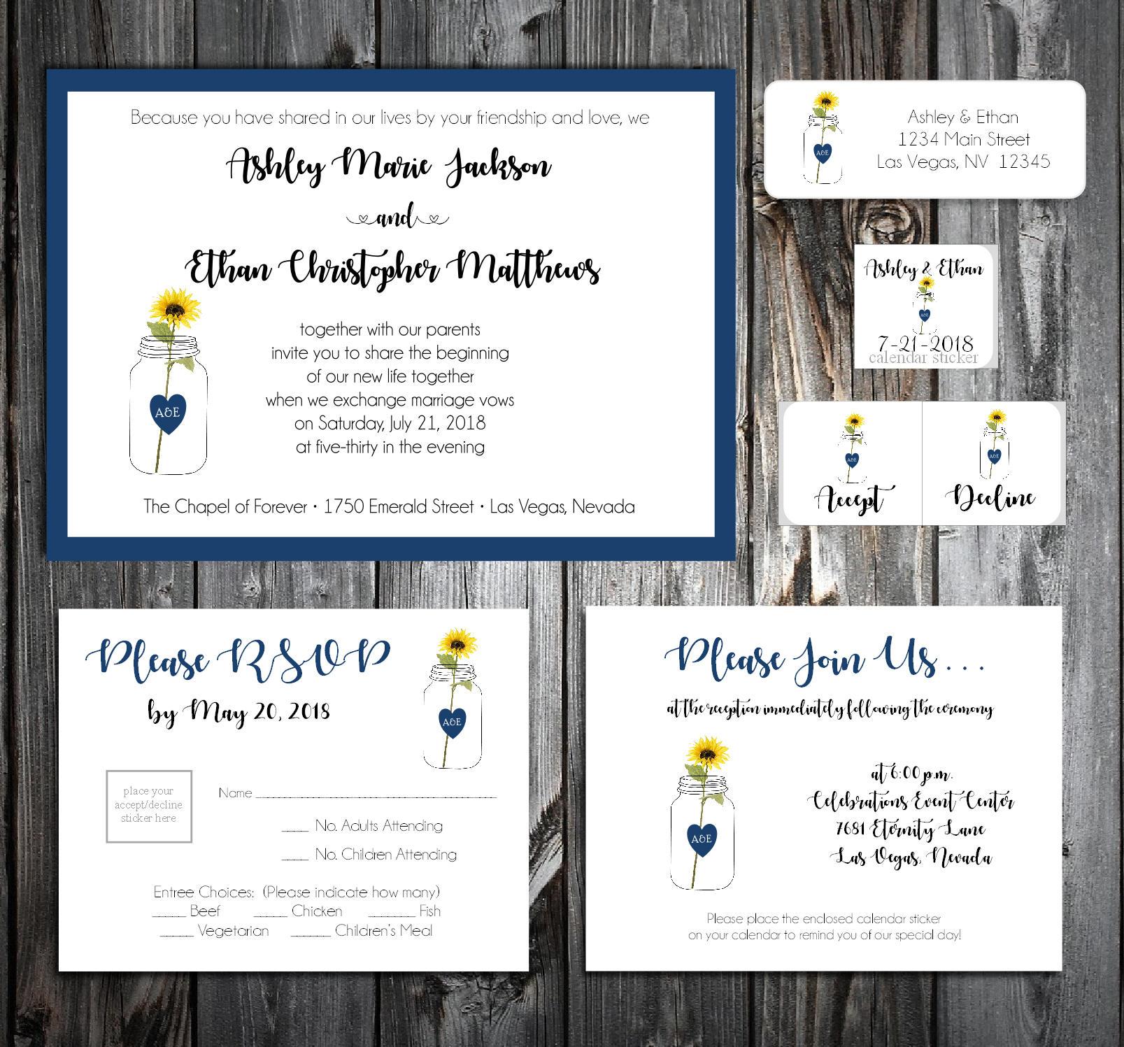 Mason Jar with Sunflower Wedding Invitations, RSVP\'s, Reception ...