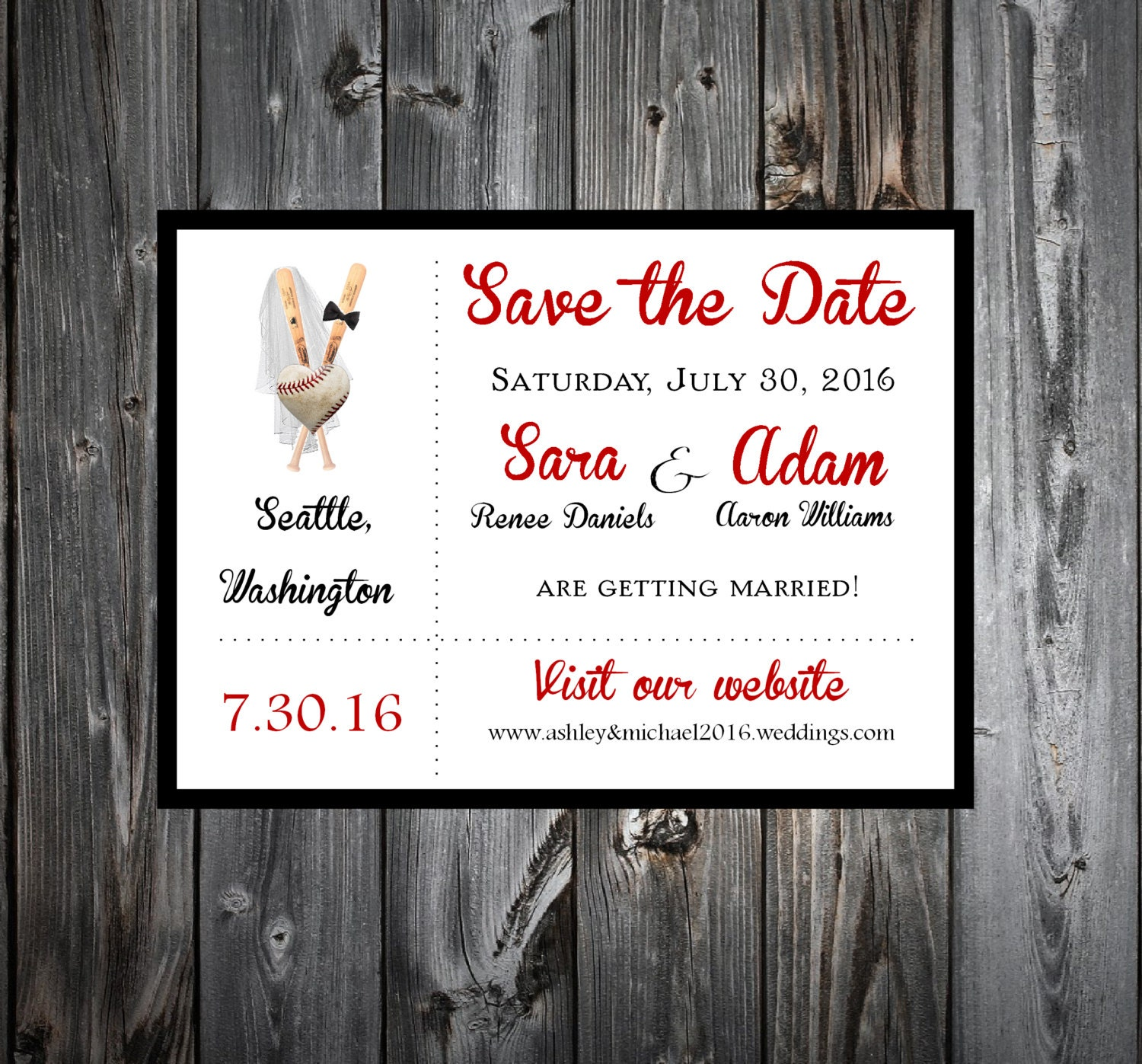 baseball heart wedding save the date cards invitations