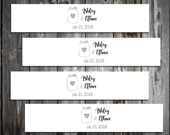 100 Mason Jar Wedding Invitation Belly Bands Wraps.  Includes personalization and  printing