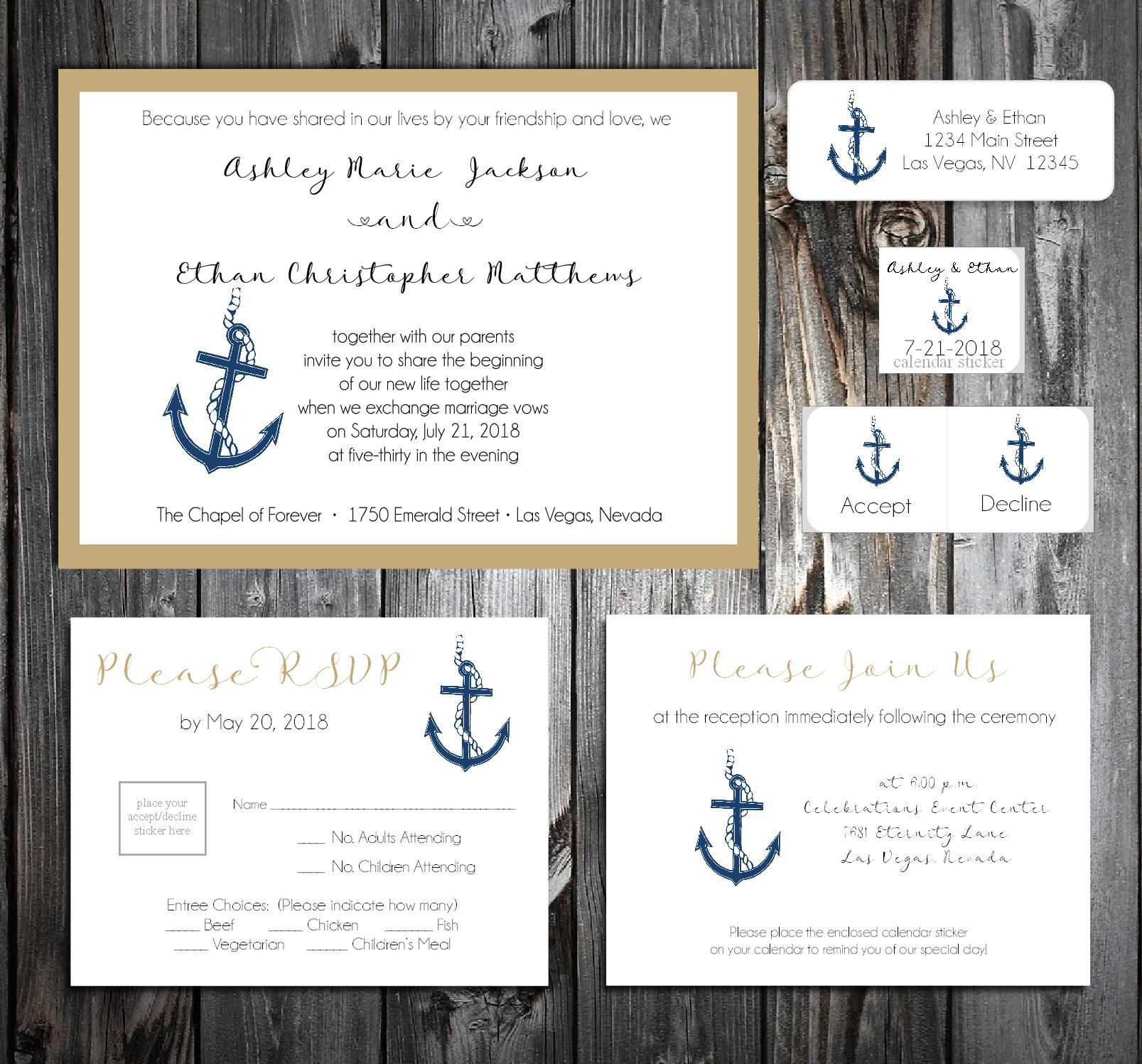 Nautical Beach Anchor Wedding Invitations, RSVP\'s, Reception Insert ...